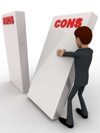 cons: 3d man with prons and cons sign board concept on white background, side angle view