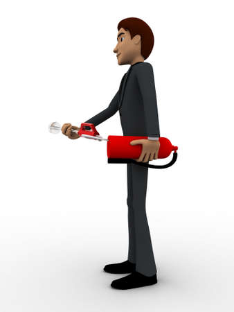 extinguish: 3d man with fire extinguish concept on white background, side  angle view