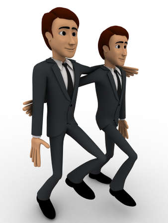 good mood: 3d man friend walking and in good mood concept on white background, side angle view