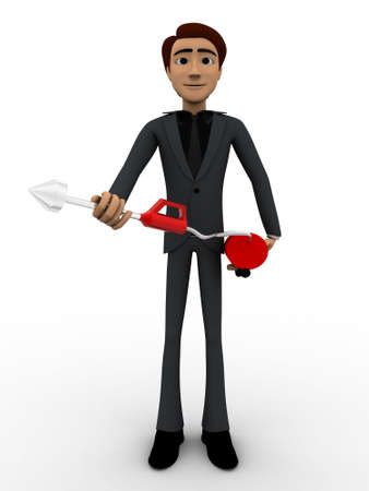extinguish: 3d man with fire extinguish concept on white background, front angle view
