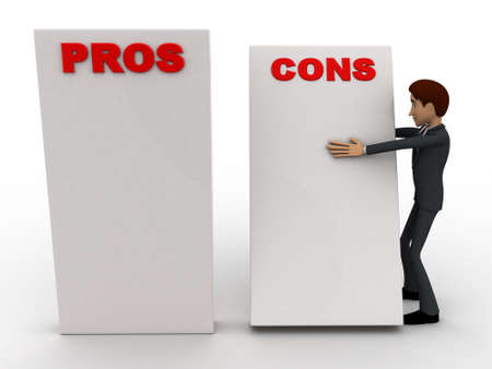 cons: 3d man with prons and cons sign board concept on white background, front angle view