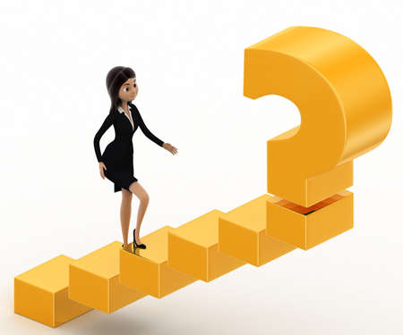 woman stairs: 3d woman walking on stairs toward golden question mark concept on white background, side angle view