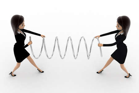 women fighting: 3d two women fighting for spring and pulling it concept on white background, top angle view Stock Photo