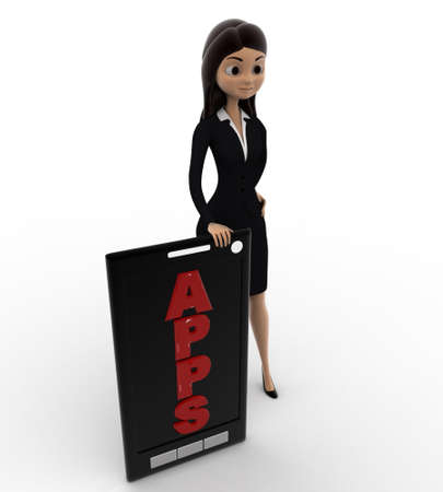 smartphone apps: 3d woman with apps text on smartphone concept on white background, top angle view