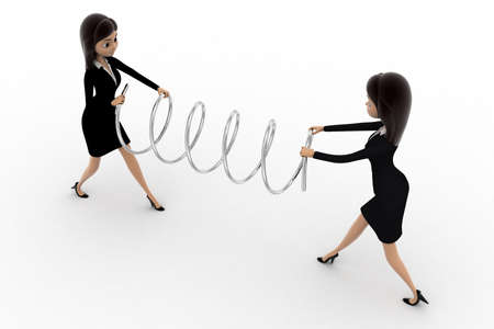 pulling: 3d two women fighting for spring and pulling it concept on white background, side angle view