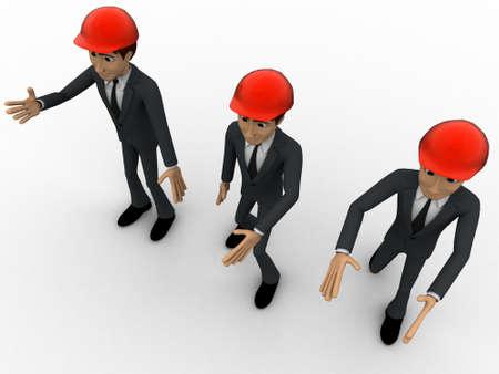 top angle view: 3D hombres ingeniero de la construcci�n feliz y concepto de caminar sobre fondo blanco, �ngulo de vista superior