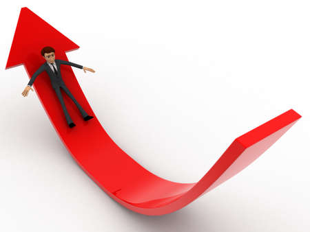 sliding: 3d man sliding on red arrow concept on white background, side  angle view