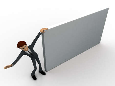 top angle: 3d man with big banner concept on white background,  top  angle view