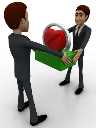 another: 3d man giving heart to another man concept on white background, side angle view