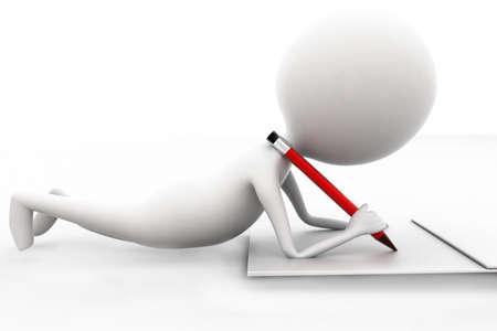 lapiz: Hombre 3d que escribir con el lápiz en el concepto de papel sobre fondo blanco aislado