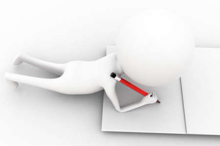 his: 3d man writing with his pencil on paper concept  on white isolated background  , top angle view Stock Photo