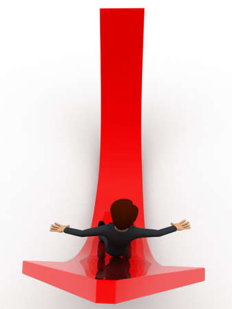 sliding: 3d man sliding on red arrow concept on white background,  top angle view Stock Photo