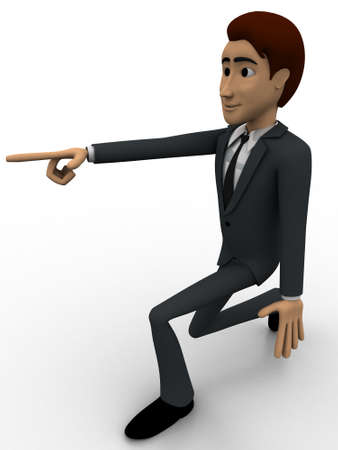 someone: 3d man pointing at someone concept on white background,  side angle view Stock Photo