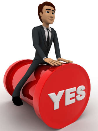 yes button: 3d man sitting on yes button concept on white background,  side angle view