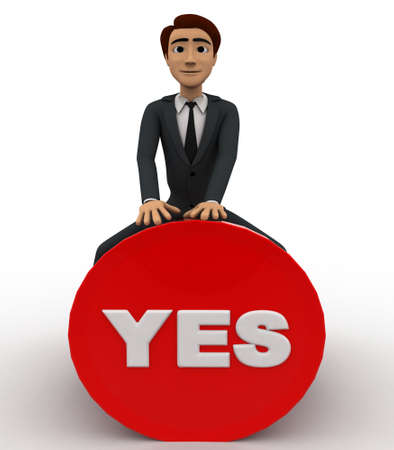 button front: 3d man sitting on yes button concept on white background, front angle view Stock Photo