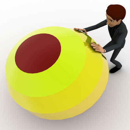 man pushing: 3d man pushing colorful ball concept on white background,  top  angle view