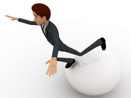 big ball: 3d man falling from big ball concept on white background, side angle view