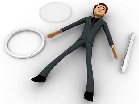 three dimensions: 3d man with broken magnifying glass concept on white background, front angle view Stock Photo