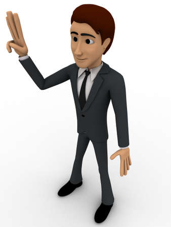 three dimensions: 3d man showing three finguress to others concept on white background, side angle view