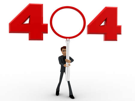 three dimensions: 3d man man with 404 error number concept on white background, front angle view Stock Photo