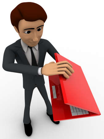 three dimensions: 3d man with red laptop and packing it concept on white background, top angle view Stock Photo