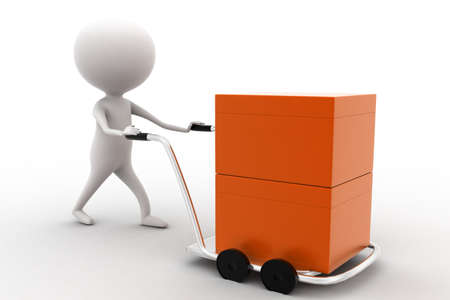 trolly: 3d man carrying orange box with the help of trolly on white isolated background , side angle view
