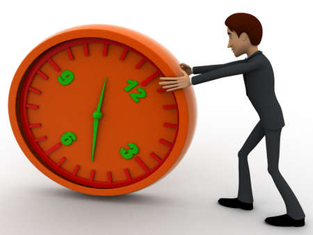 three dimensions: 3d man pushing and rolling big clock concept on white background, front angle view