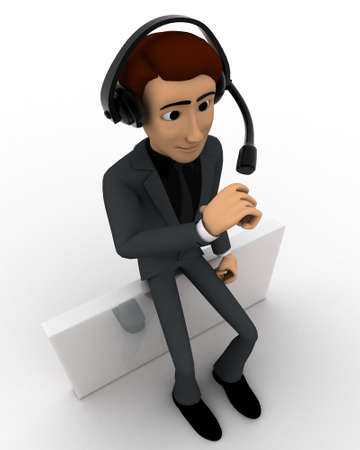 top angle view: 3d man wear headphone and sitting concept on white background, top angle view
