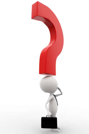 suo: Uomo 3d con il punto interrogativo sopra la testa concetto su sfondo bianco isolato, vista laterale