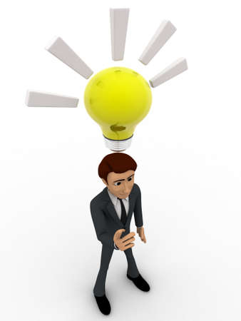 three dimensions: 3d man found idea and with yellow bulb concept on white background, top angle view