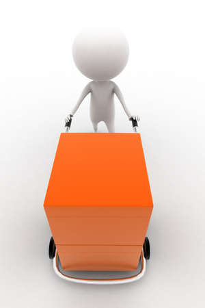 trolly: 3d man carrying orange box with the help of trolly on white isolated background ,front angle view