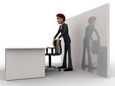 three dimensions: 3d man in office with table and chair concept on white background, side angle view