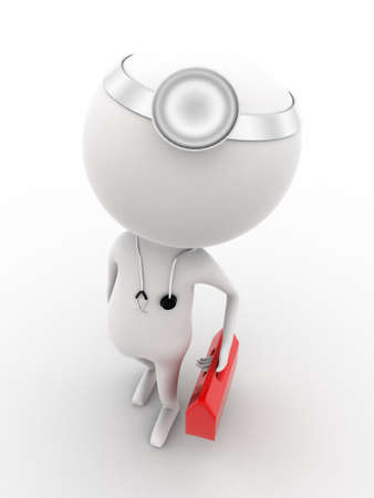 his: 3d doctor walking with his medical kit and equipments on white isolated background , top angle view