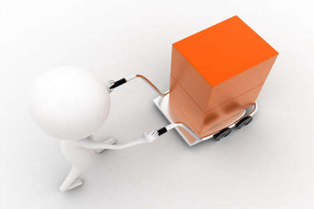 trolly: 3d man carrying orange box with the help of trolly on white isolated background , top angle view Stock Photo