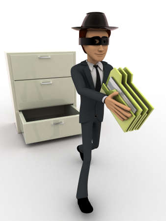 three dimensions: 3d man stealing files from drawer concept on white background, front angle view