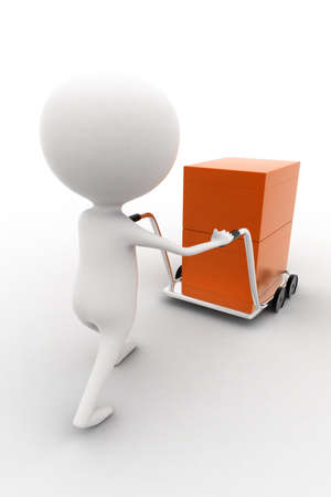 trolly: 3d man carrying orange box with the help of trolly on white isolated background , back angle view