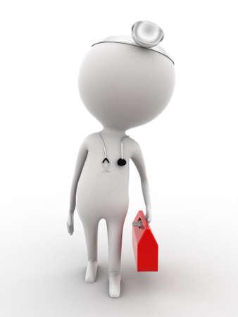 suo: 3d medico che cammina con il suo kit medico e attrezzature su sfondo bianco isolato, vista frontale angolo