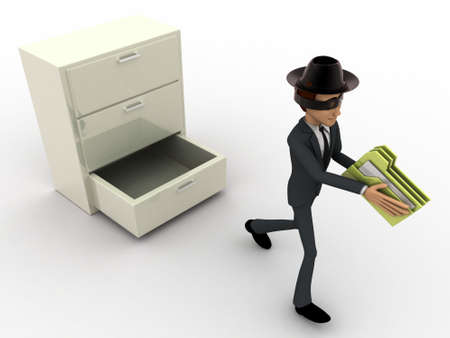 three dimensions: 3d man stealing files from drawer concept on white background, top angle view