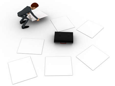 three dimensions: 3d man try to collect scttered work paper concept on white background, top angle view