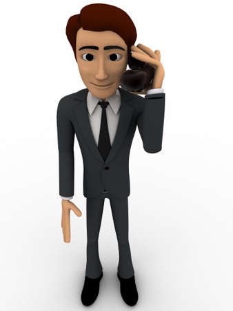 3d man calling with telephonic reciever concept on white background,  front angle view
