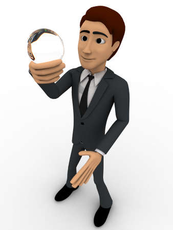 watching 3d: 3d man holding sphere of glass in hand and watching it concept on white background,  left angle view