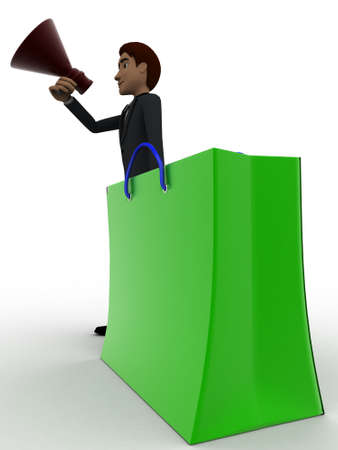 aide: 3d man with shopping bag and speaker concept on white background, aide angle view