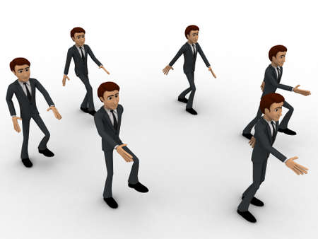 marching: 3d men marching concept on white background, side angle view