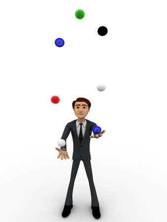 juggle: 3d man juggle colourful balls concept on white background,  front angle view
