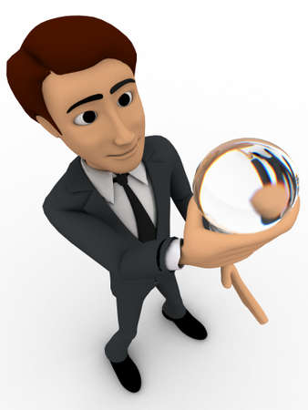 watching 3d: 3d man holding sphere of glass in hand and watching it concept on white background, top angle view