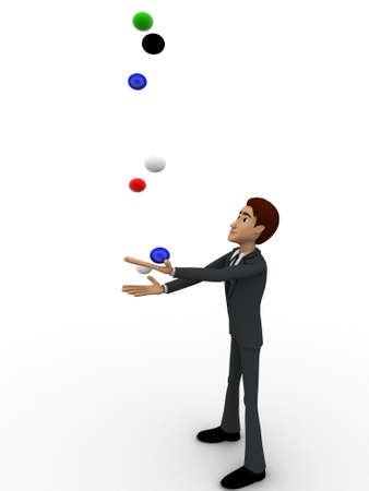 juggle: 3d man juggle colourful balls concept on white background,   side  angle view