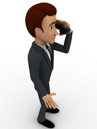 reciever: 3d man calling with telephonic reciever concept on white background,  side angle view Stock Photo