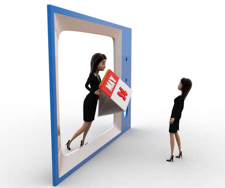 viewing angle: 3d woman watching woman with calender on tv concept on white background,  side angle view Stock Photo
