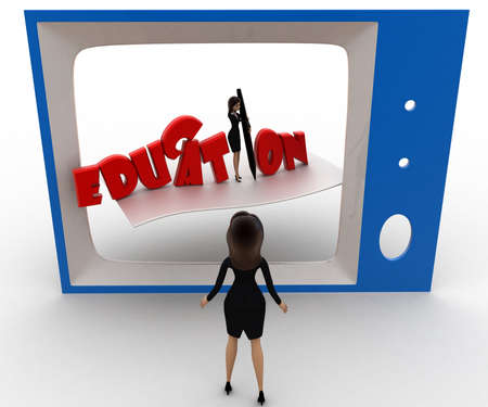 viewing angle: 3d woman watching educational program on tv concept on white background,  top  angle view