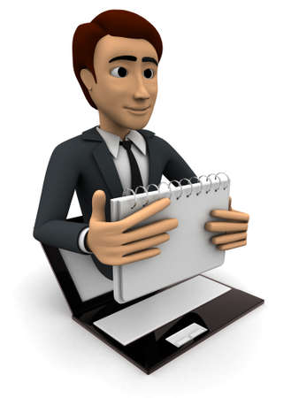 popping: 3d man popping out of laptop with calender concept on white background, side angle view